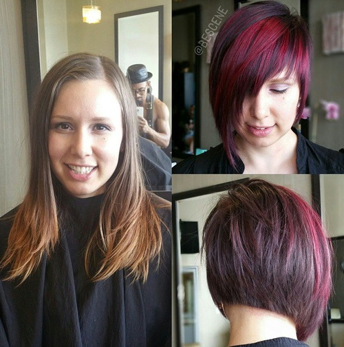 asymmetrical short haircut with burgundy highlights
