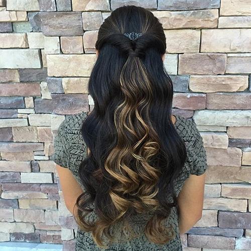 half up looped through ponytail