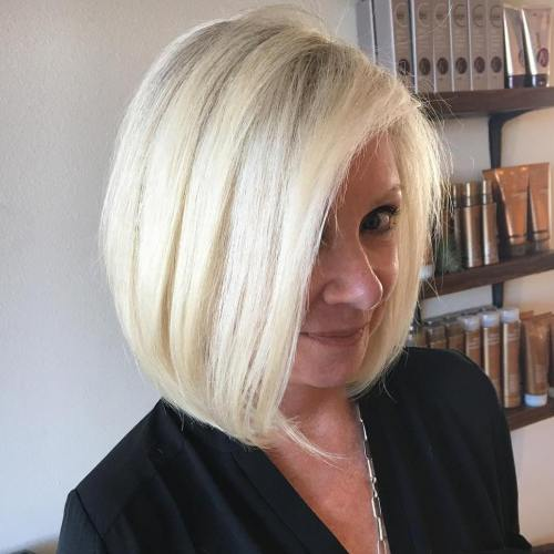 Blonde Side Parted Bob For Over 40