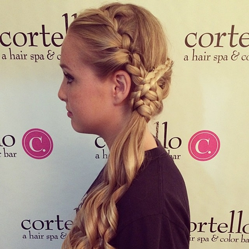 braided updo with side ponytail