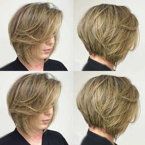 stacked brown blonde bob