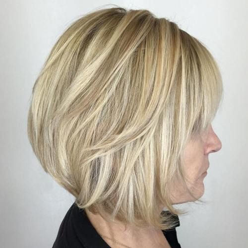 Layered Blonde Bob With Bangs And Highlights