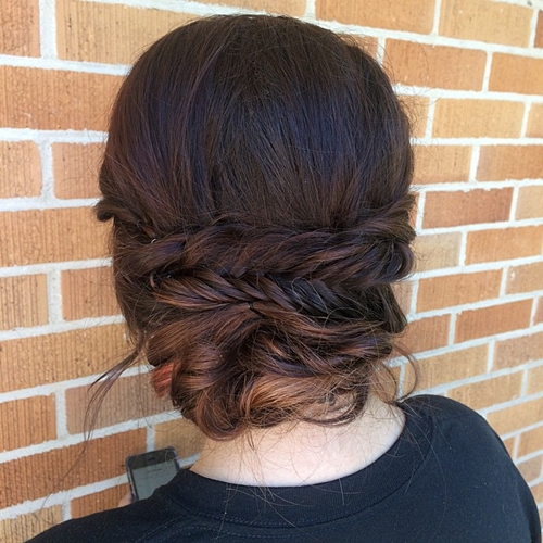 messy loose updo with fishtail
