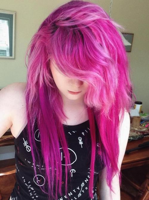 Long Layered Pink Hairstyle
