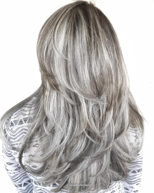 Long Layered Silver Blonde Hairstyle