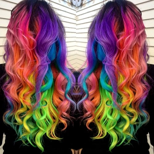 curly rainbow hairstyle