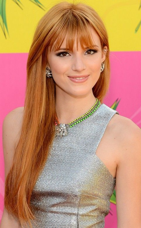Bella Thorne hairstyle for long straight hair with bangs