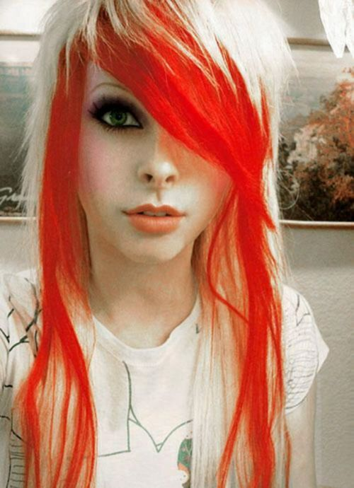 blonde and red emo hairstyle