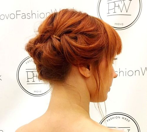 red prom updo for shorter hair