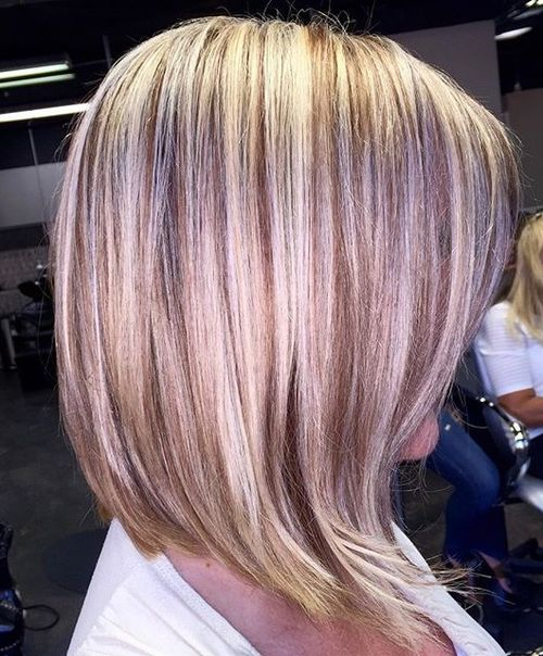 low blonde bob with golden brown lowlights