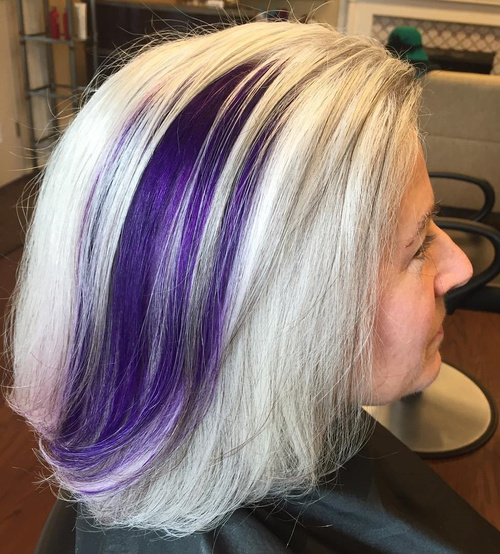 Ash Blonde Hair With Purple Balayage For Older Women