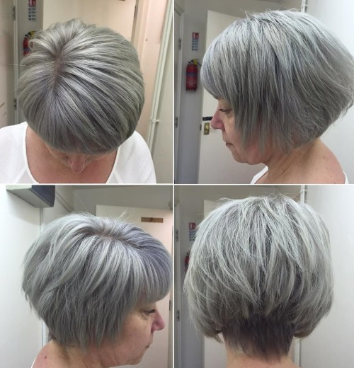Stacked And Layered Gray Bob
