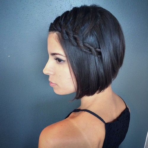 side rope braid hairstyle for short hair for prom