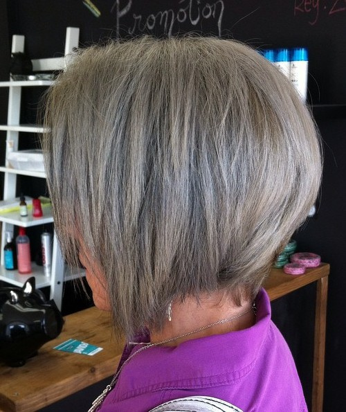 Angled Ash Brown Bob For Older Women