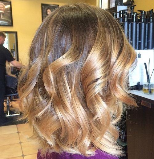 bob with golden blonde ombre highlights