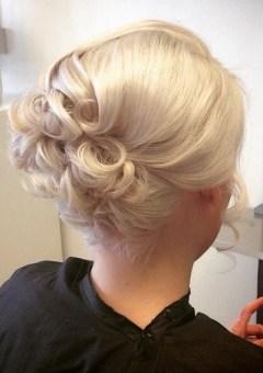 formal blonde curly updo for shorter hair