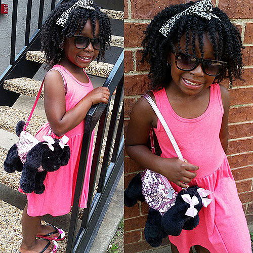 medium curly hairstyle for little black girls