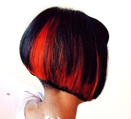 black stacked bob with red balayage