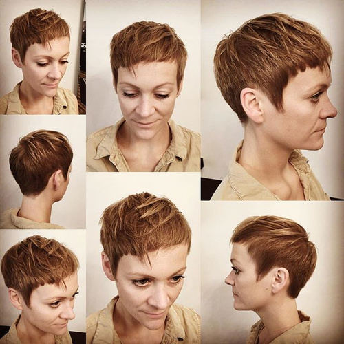 chopped pixie with extra short bangs