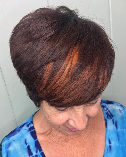 Brown Pixie With Copper Peekaboos
