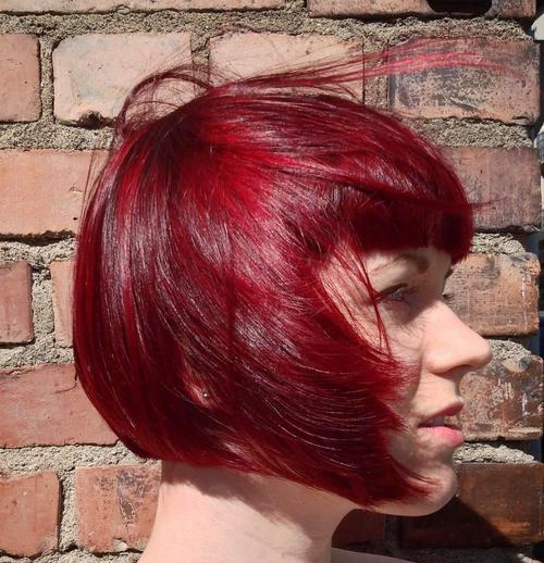 cherry red chin length bob with bangs