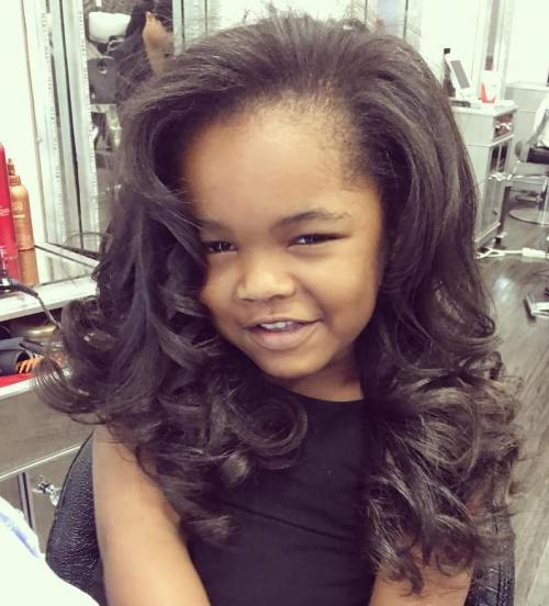 Little Black Girl's Loose Curly Hairstyle