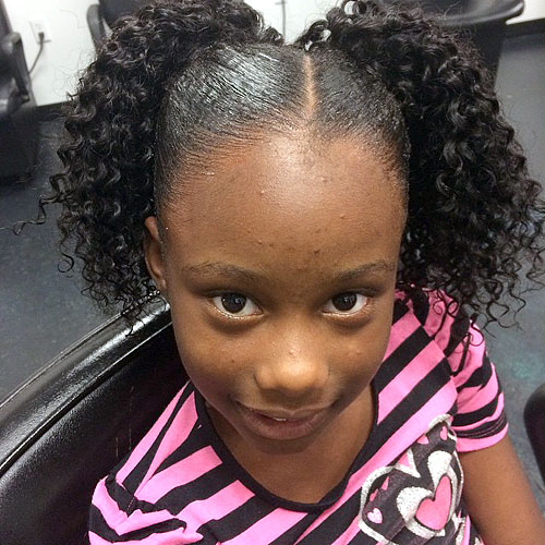 curly pigtails for black girls