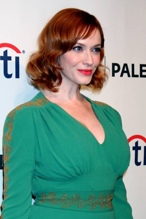 Christina Hendricks medium curly red hairstyle