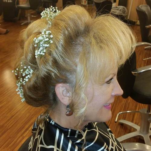 older women's updo with bangs