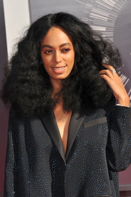 Solange long natural hairstyle