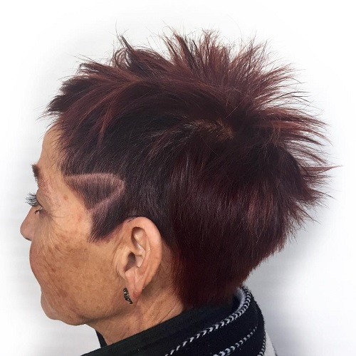 spiky cut with undercut for older women
