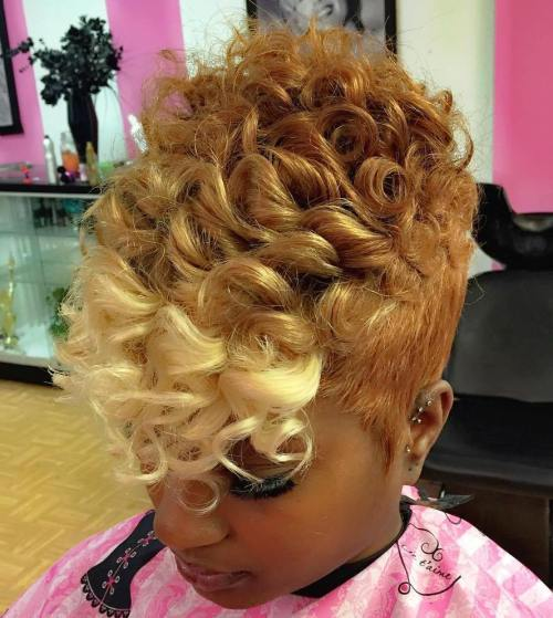 African American Blonde Curly Pixie