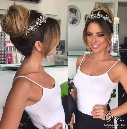 Wedding Bun With Jeweled Crown