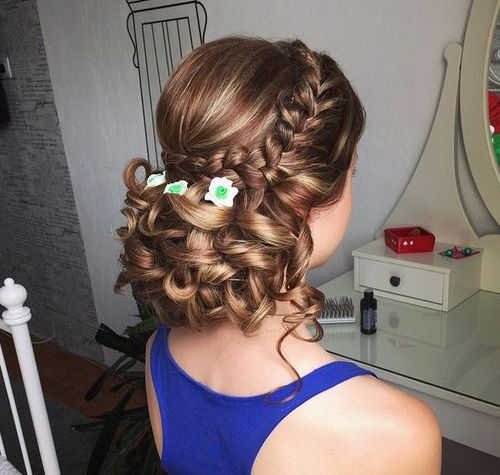 low curly updo for bridesmaids