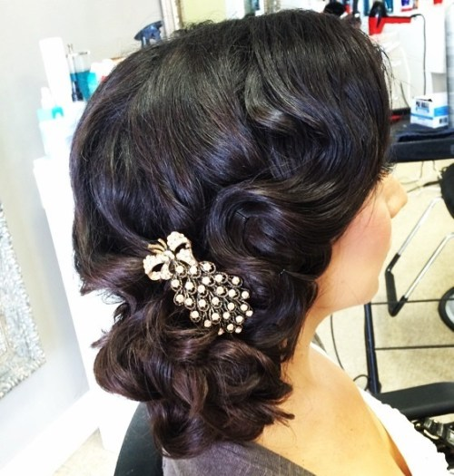 Side Curly Wedding Updo