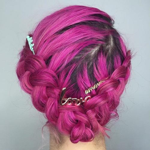 Pink Crown Braid Updo