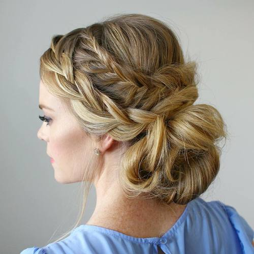 two braids and messy bun updo