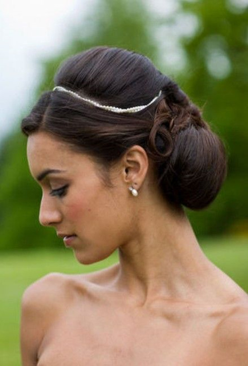 bridesmaid updo with a bouffant for long hair