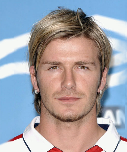 David Beckham haircut with angled quiff