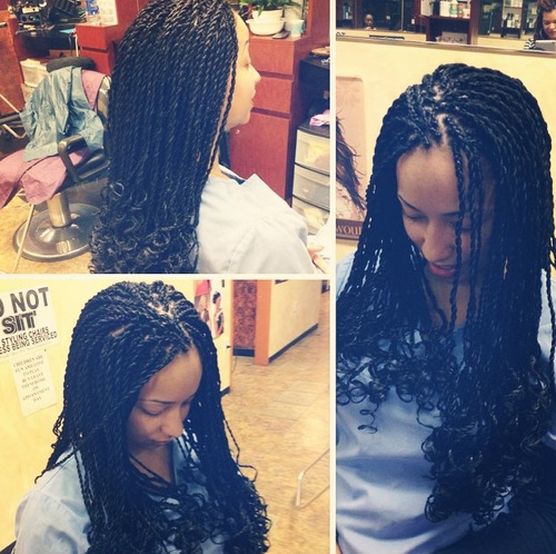 black curly twists hairstyle