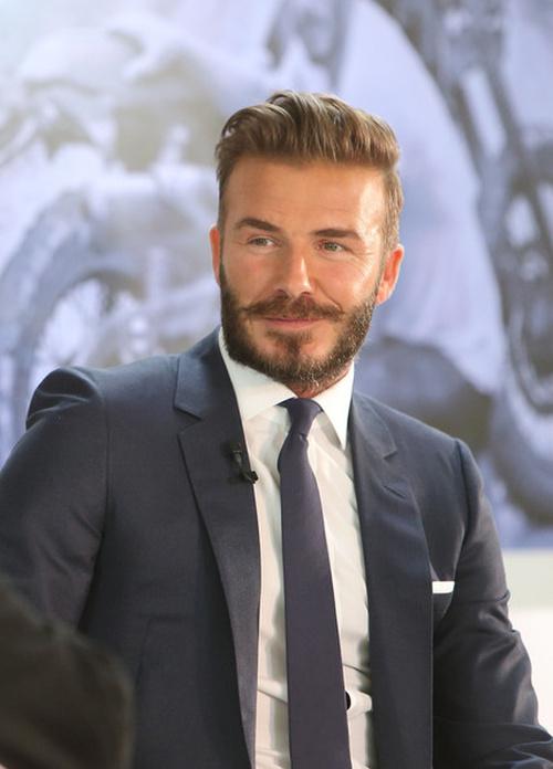 David Beckham short backswept hairstyle