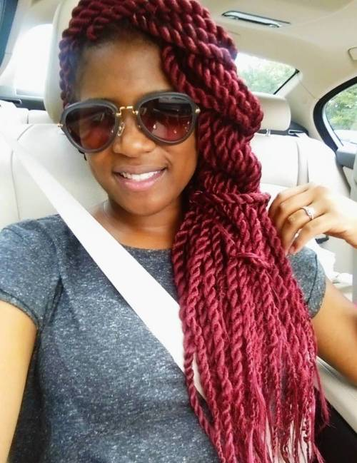 Cherry Red Twists Side Hairstyle