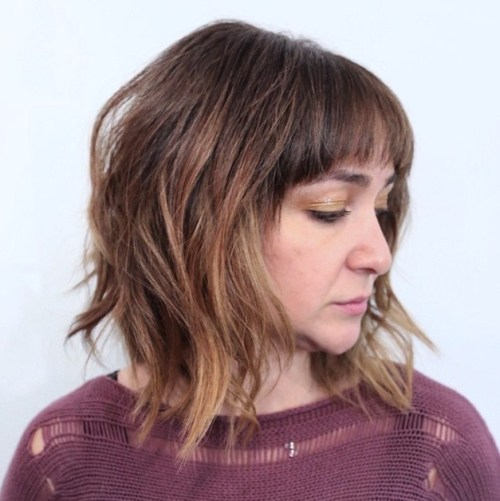 messy layered bob with ombre highlights