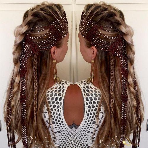 24: Flower Braid Half Up Half Down Hairstyle