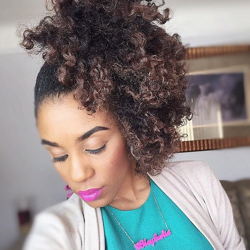 black ponytail for natural hair