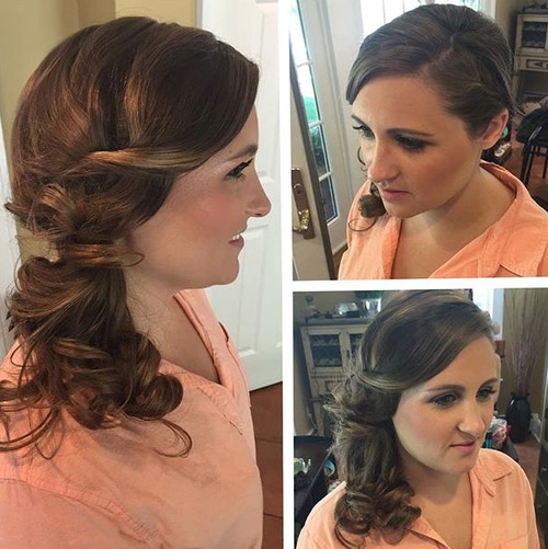 formal curly side ponytail