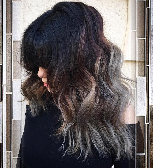 Long Wavy Hairstyle With Bangs For Thick Hair