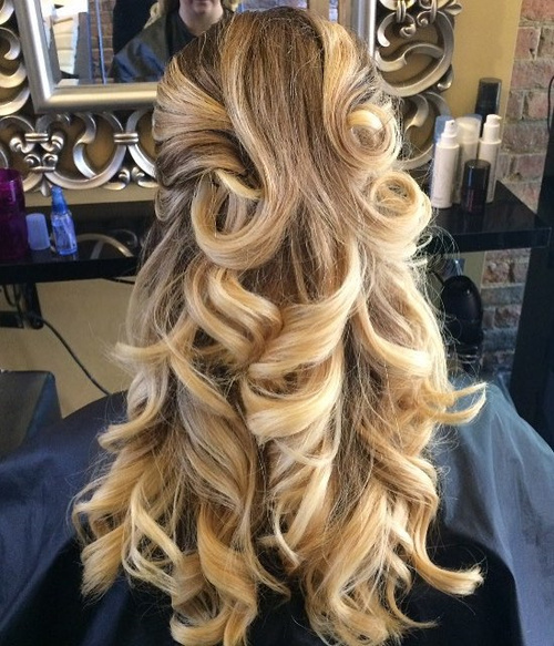 Curly Half Up Hairstyle For Long Thick Hair