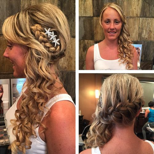 side-swept curly hairstyle with a braid