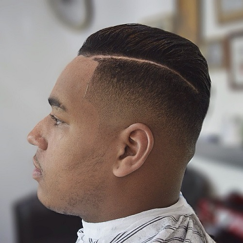 black side parted fade haircut